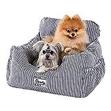 Amazon Brand – Umi Asiento de Coche para Perros con cinturón de Seguridad Resistente Cama para Perros Suave para Perros Elevador para Perros Impermeable Antideslizante Portador de Viaje Azul