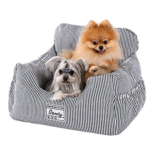 Amazon Brand-Umi Hundeautositz mit stabil Sicherheitsgurt Weich Hunde Sitzerhöhung Wasserdichter Rutschfester Hundetransportträger für kleine bis mittelgroße Hunde Blau