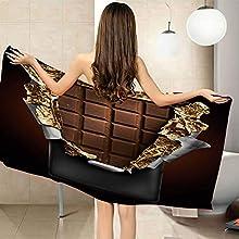 XTSEDL Toalla de Playa Microfibra 100x200cm Impresión de Chocolate marrón Toallas Piscina Toalla Infantil Niño Niña Seque Rápidamente Absorbente Toallas Ducha Acampada Viaje Regalos