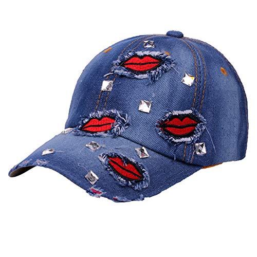 LSJYF Honkbalpet Dames Mode Creatieve Mond Sticker Glas Diamant Cowboy Honkbalpet Vrije tijd Getij Hip-Hop Sunshade Hoed B