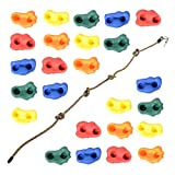 Milliard DIY Rock Climbing Holds Set with 8 Foot Knotted Rope (25 Pc. Kit) Kids Indoor and Outdoor Play Set Use, Includes Mounting Screws and Hooks.