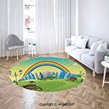 AngelDOU Non-Slip Backing Machine Washable Round Area Rug Kids Nursery Decor Park Bench Hills Apartments Rainbow Beams Flowers Art Print Soft Living Dining Room Area Rug
