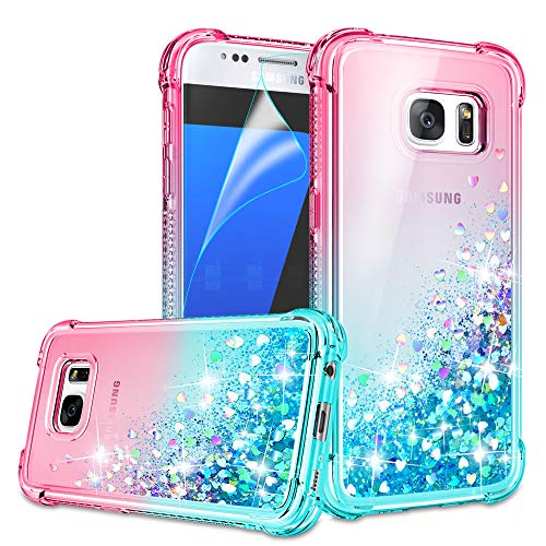 Galaxy S7 Case, Galaxy S7 Phone Case with HD Screen Protector for Girls Women, Gritup Cute Clear Gradient Glitter Liquid TPU Slim Phone Case for Samsung Galaxy S7 Pink/Teal