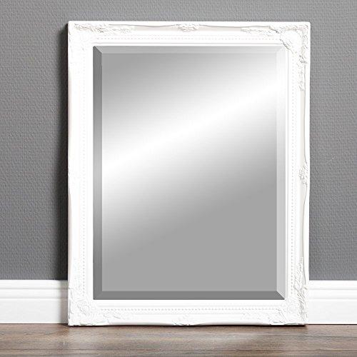 LEBENSwohnART Spiegel Gracy barock Antik-Weiß 50x40cm Wandspiegel Flurspiegel Badspiegel