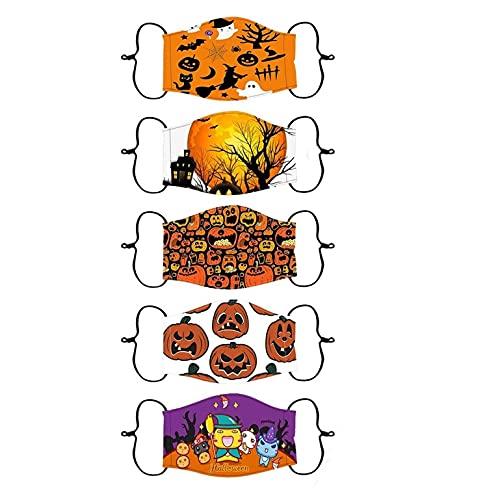 Sonnena 5 Unidades Niños Pañuelo,Infantil Estudiante Patrón de Dibujos Animados Suave Orejeras para Ciclismo Viajes,Halloween,Año Nuevo