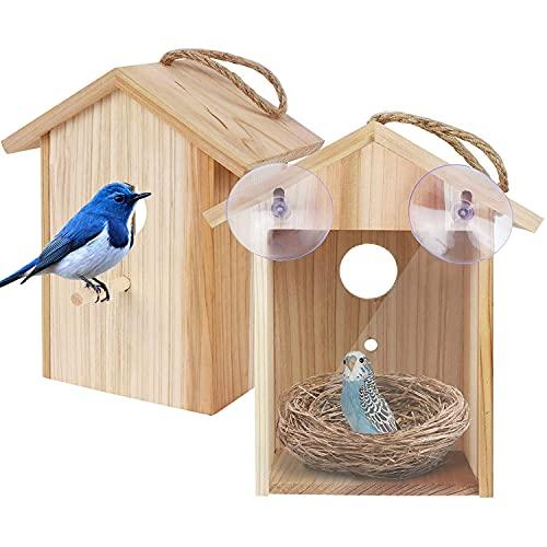 Utapossin Casitas para Pájaros de Madera, Comedero para Pájaros, Casa de Pájaros, Nido de Pájaros, para Jardín Patio Trasero Interior Balcón, Casa de Madera Colgante para Pájaros Salvajes