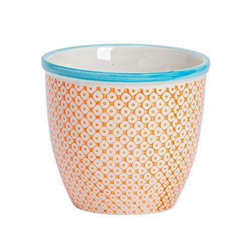 Nicola Spring Hand-Printed Plant Pot - Japanese Style Porcelain Indoor Outdoor Flower Pot - Orange - 14 x 12.5cm