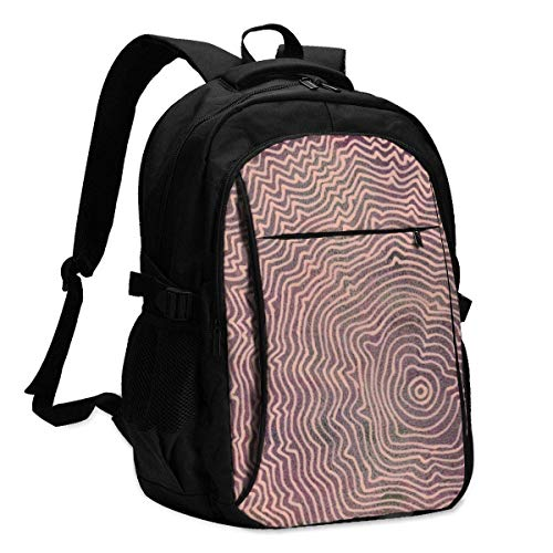 IUBBKI Line Art Hand Painted with Acrylic Peach Colored Ink Office & School Supplies with USB Data Cable and Music Jack Laptop Bags Computer Notebook 18.1X13.3 inch
