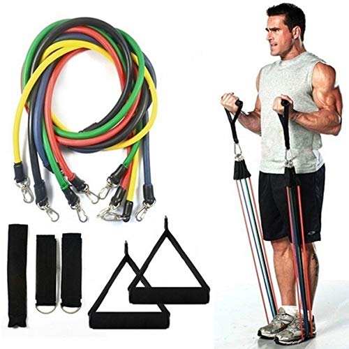 SAME DAY DELIVERY! Resistance Bands Set, 11 Pc Exercise Bands up to 150lb, Indoor/Outdoor Workout Bands with Door Anchor & Handles for Fitness, Strength, Slim, Yoga, Home Gym Equipment for Men/Women