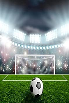 AOFOTO 5x7ft Football Court Photography Soccer Pitch Goal Backgrounds Artistic Backdrops Gymnasium Lawn Match Kid Boy Toddler Man Adult Portrait Sports Game Photo Shoot Studio Props Video