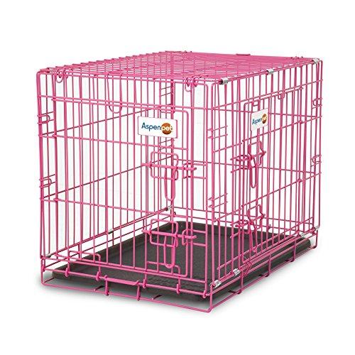 Aspen Pet Puppy 2-Door Training Retreat Crate, Pink, 24″, for Dogs 15-30 Lbs.