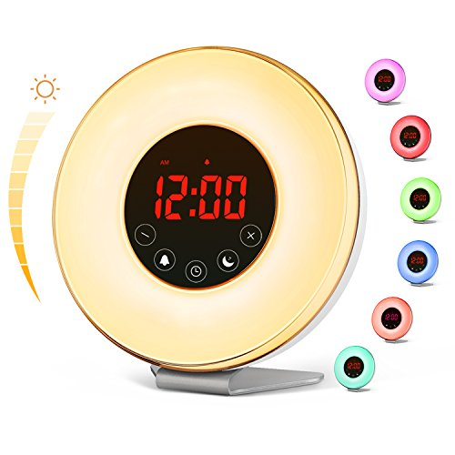 vodool Sunrise Alarm Clock, Digital LED Wake Up Light Clock 7 Color Switchs 10 Brightness Levels and...