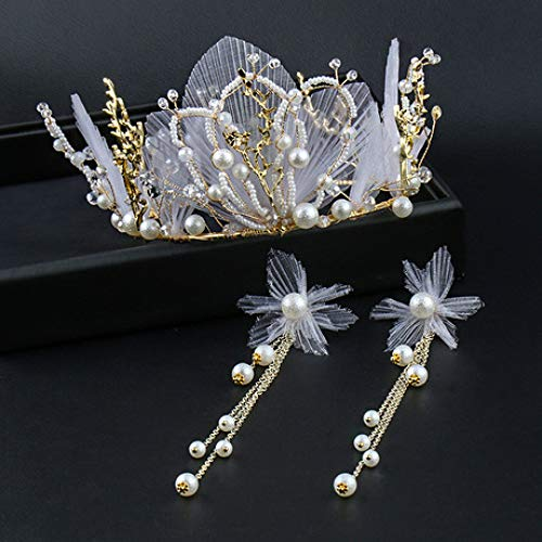 Meilandeng Braut Haarschmuck Diadem Hochzeit Kopfschmuck Diadem Braut Haarschmuck Tuch Hand Braut auf Hochzeit Stil Clip Haarschmuck Krone weiß Perlen Kopfschmuck