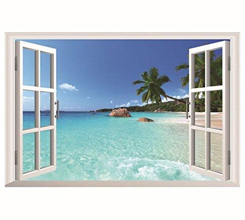 HALLOBO® XXL Wandaufkleber Fenster Hawaii Meer Insel Urlaub Wandsticker Wandtattoo Wall Sticker Wohnzimmer Schlafzimmer Deko Korridor Esszimmer