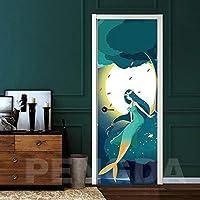 ドアステッカー DIYのドアを印刷環境マーメイドのホームデコレーションツリー保護ステッカー自己粘着アートペーパーリビングルームPVC防水3D (Size : 95x215cm)-95x215cm