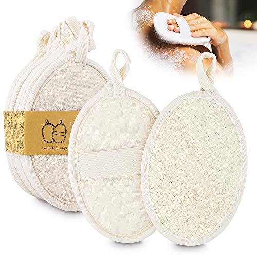 KYONANO Luffaschwamm, 10 Duschschwamm mit Luffa-Faser, Natur Badeschwamm für Bad, Dusche, Peeling, Massage Und Körperpflege, Loofah Pad ideal für alle Hauttypen