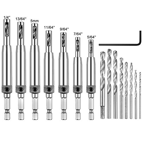 SUNJOYCO Self Centering Drill Bit Set, 16 PCS Hinge Center Drill Bit Tool for Woodworking Window Door Hinge with 1 Hex Key & 8 Replacement Drill Bits, 5/64'' 7/64'' 9/64'' 11/64'' 13/64'' 5mm 1/4''