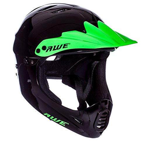 AWE® - Casque de BMX complet Noir/vert - Taille L : 58 - 62cm
