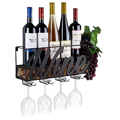 R&Xrenxia 4 Soportes De Vino Incorporados Metal Montado En La Pared Estante De Champán con Bandeja De Corcho Extra