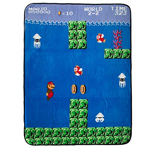 Bioworld Super Mario Video Game Fleece Throw Fan Accessory