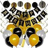 LEVANDI®  Premium Geburtstagsdeko – Geburtstagsdekoration Set mit [24] Teilen – Robustes & reißfestes Material – Kräftige Farben – Verbesserte Luftpumpe & Gebrauchsanweisung – (Schwarz/Gold)