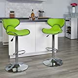 Flash Furniture Contemporary Cozy Mid-Back Green Vinyl Adjustable Height Barstool with Chrome Base