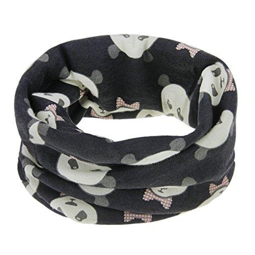 FakeFace Kinder Loopschal Loop Schlauchschal Tuch mit Panda Muster Baumwolle Rundschal Halstücher Winter Schal für 0-12 Monaten Baby Mädchen Jungen, Schwarz-panda, Einheitsgröße