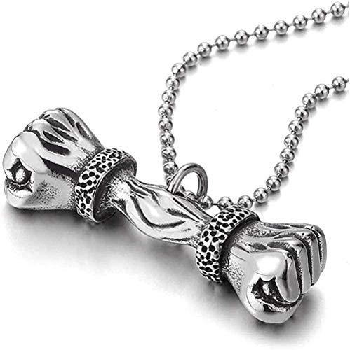 DUEJJH Co.,ltd Collar Personalidad Moda Tendencia Retro Acero Inoxidable Hombres niños Retro puño Mano mancuerna Colgante Collar