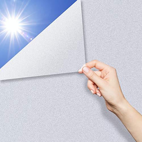 QXMCOV Pellicola Specchio Oscurante per Vetri Finestre Autoadesiva per Privacy, Pellicola Riflettente Finestre Anti UV, Adatto per Casa Soggiorno Camera da Letto Ufficio (Bianco, 60x400 cm)