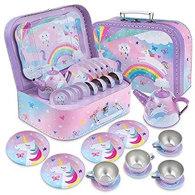 Jewelkeeper 15 Piece Kids Pretend Toy Tin Tea Set & Carrying Case - Cotton Candy Unicorn Design
