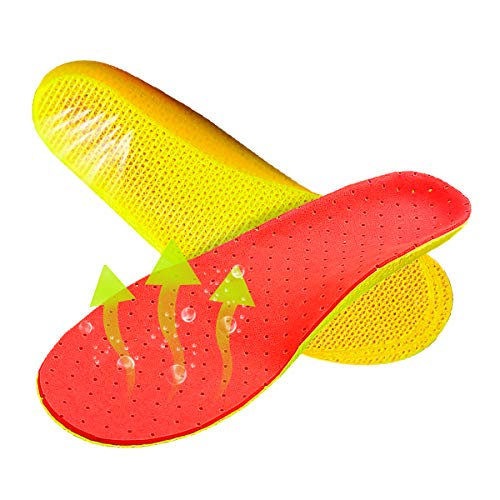eSUN Elastic Cushioning Shoe Inserts Insole Unisex, Shock-Absorbing Height Increasing, Breathable Odor Control Orthotic Replacement Insoles, with Arch Support for Men Women, Red
