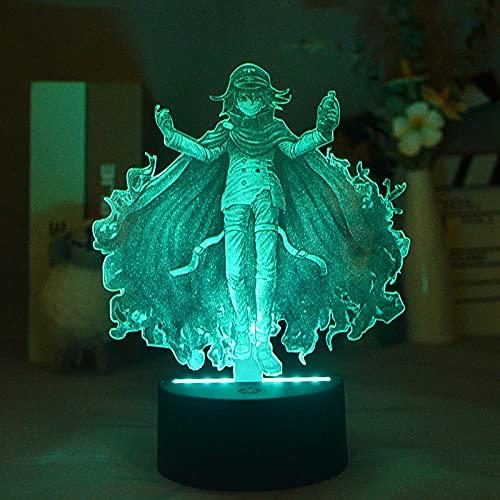 3D noche luz 3D ilusión lámpara Kokichi Oma 16 cambio de color lámpara de decoración con control remoto para sala de estar cama bar mejor regalo juguetes