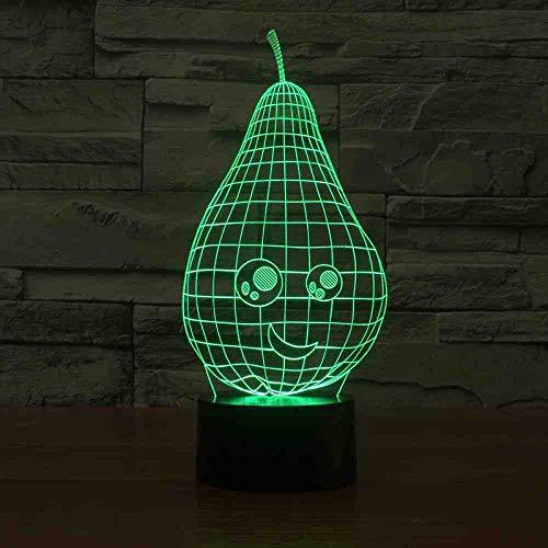 BJDKF Schöne Birnenförmige Nachtlicht 7 Farbwechsel 3D Led Tisch Schreibtischlampe Cartoon Figur Kinderbett Schlaf Beleuchtung Dekor Geschenk