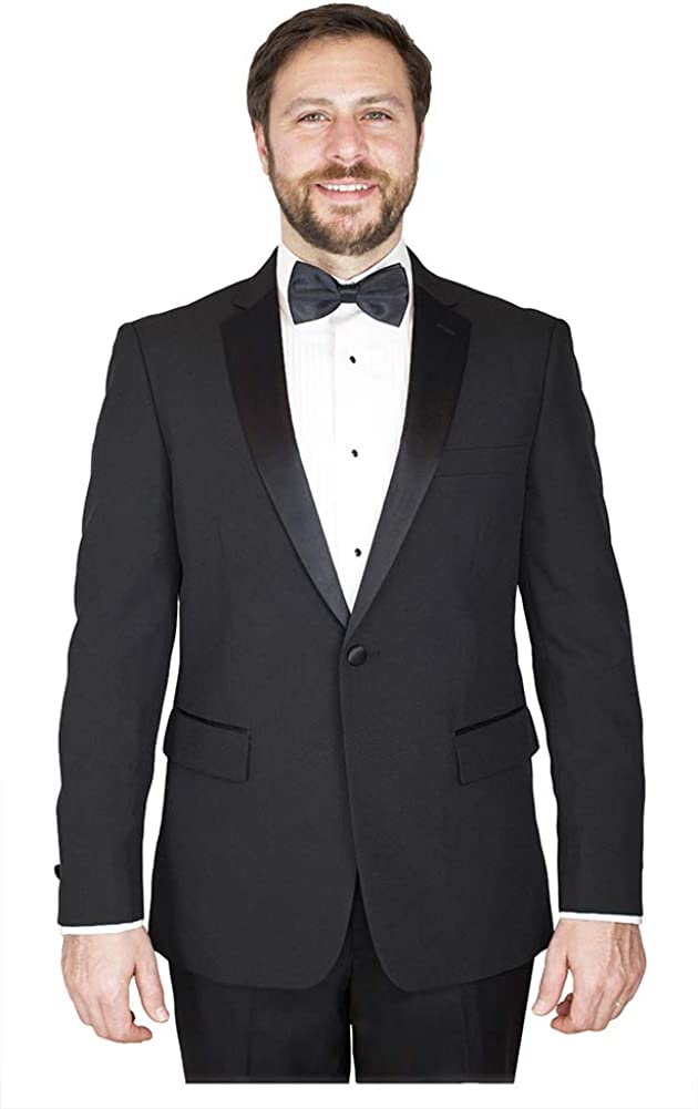 Sir Gregory Men's Fitted Tuxedo Jacket 1 Button Tux Blazer with Satin Notch Lapel