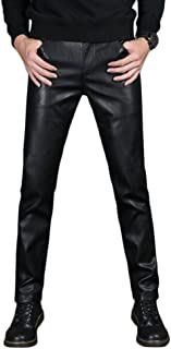 Idopy Men`s PU Slim Fit Five Pockets Washed Motorcycle Faux Leather Pants Jeans
