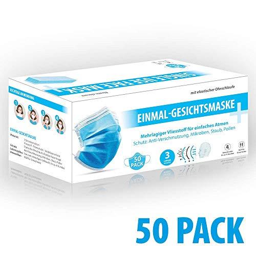 50x envemask Mundschutz - Einmal-Mundschutz mit Nasenbügel und Gummiband 50 Stück -Staubschutz (Versand aus DE)