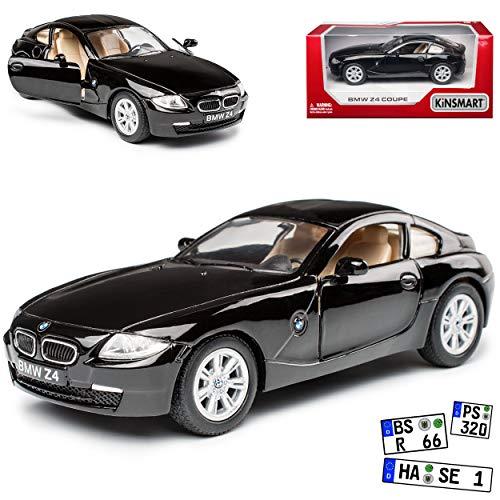 Kinsmart B-M-W Z4 E86 M Coupe Schwarz 2002-2008 ca 1/43 1/36 Modell Auto mit individiuellem Wunschkennzeichen