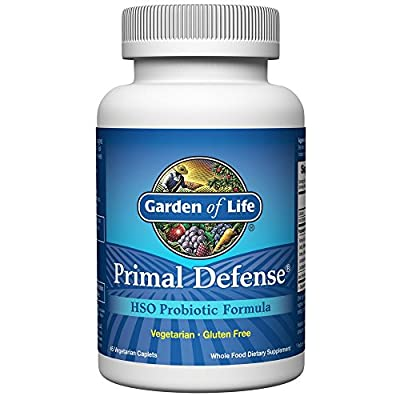 Garden of Life Whole Food Probiotic Supplement - Primal Defense HSO Probiotic Dietary Supplement for Digestive and Gut Health, 45 Vegetarian Caplets
