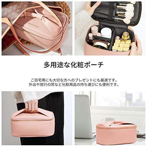 大容量コンパクトメイクポーチかわいいバニティポーチコンパクト化粧バッグ機能的メイクバッグコスメバッグ収納持ち運びリボンハンドル小物入れ軽量仕切り旅行出張プレゼントピンク