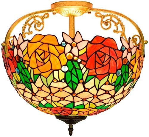 Wtbew-u Lámpara de Techo, luz de baño Accesorio de iluminación Colgante de la Sombra de Cristal de Rosa de la Rosa de 16 Pulgadas. (Color : A)