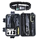 HSYTEK Survival Gear Kit 11 in 1, Professional Outdoor Emergency Survival Kit with Tactical Pen|Bracelet|Temperature Compass|Fire Starter|Flashlight for Camping,Hiking,Travel or Adventures Necessary