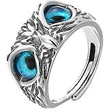CLDP 925 Sterling Silver Owl Anillo con Ojos Azules para Mujeres Y Hombres Amantes Retro Animal Ajustable Declaración Anillo Ideas Ideas Regalo De Joyería