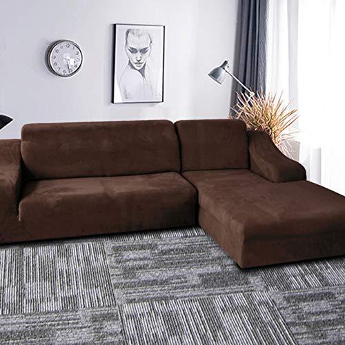 Anti-resbalón Funda Sofa Ajustables para Salon,Felpa Elasticidad Cubiertas De Couch para 3 Plazas,En Forma De L La Funda para Sofa Terciopelo Fundas para Sofa-Café 235-300cm(93-118')