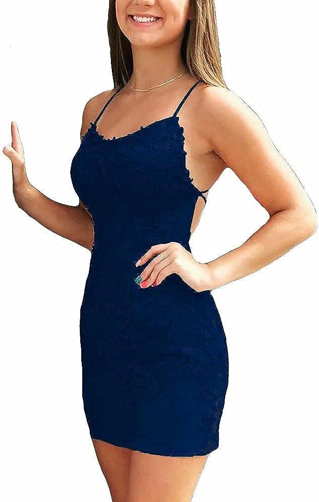 Spaghetti Strap Homecoming Dress Short Lace Backless Mini Prom Dresses