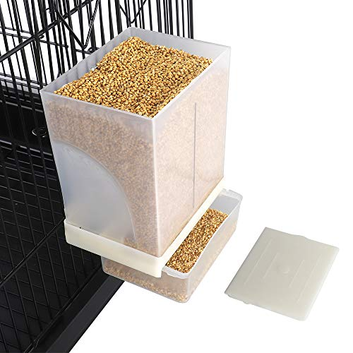 FinYii No-Mess Automatic Bird Feeder - Parrot Feeder Cage Accessories Supplies for Parakeet Canary Cockatiel Finch
