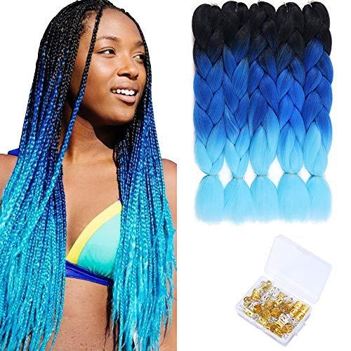 Ombre Jumbo Braids 24 Inch Ombre Braiding Hair Kanekalon Synthetic Crochet Twist Braiding Hair Extensions 5Packs/Lot (Black-Blue-Light Blue)