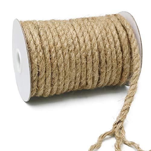 KINGLAKE 8 mm Dicker Hanfseil 15 m Garten Jute-Seil Starke Handwerksschnur zum Verpacken, Heimdekoration, Gartenbündeln
