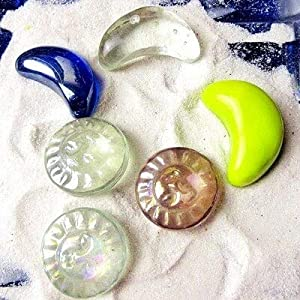 Gather together 6 piezas de cristal de Murano plano plano hecho a mano con diseño de cabeza de extranjero para peceras decoraciones, manualidades, adornos para acuarios