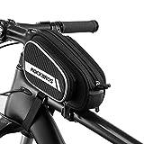 ROCKBROS Bolsa Extensible de Tubo Superior de Bicicleta Alforja de Cuadro para MTB Montaña Carretera Negro