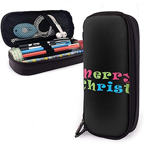 Font Christmas Candy PU Ledertasche Aufbewahrungstaschen Tragbare Student Pencil Stationery Bag Multifunktionstasche